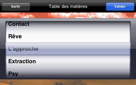 Stase iPhone menu